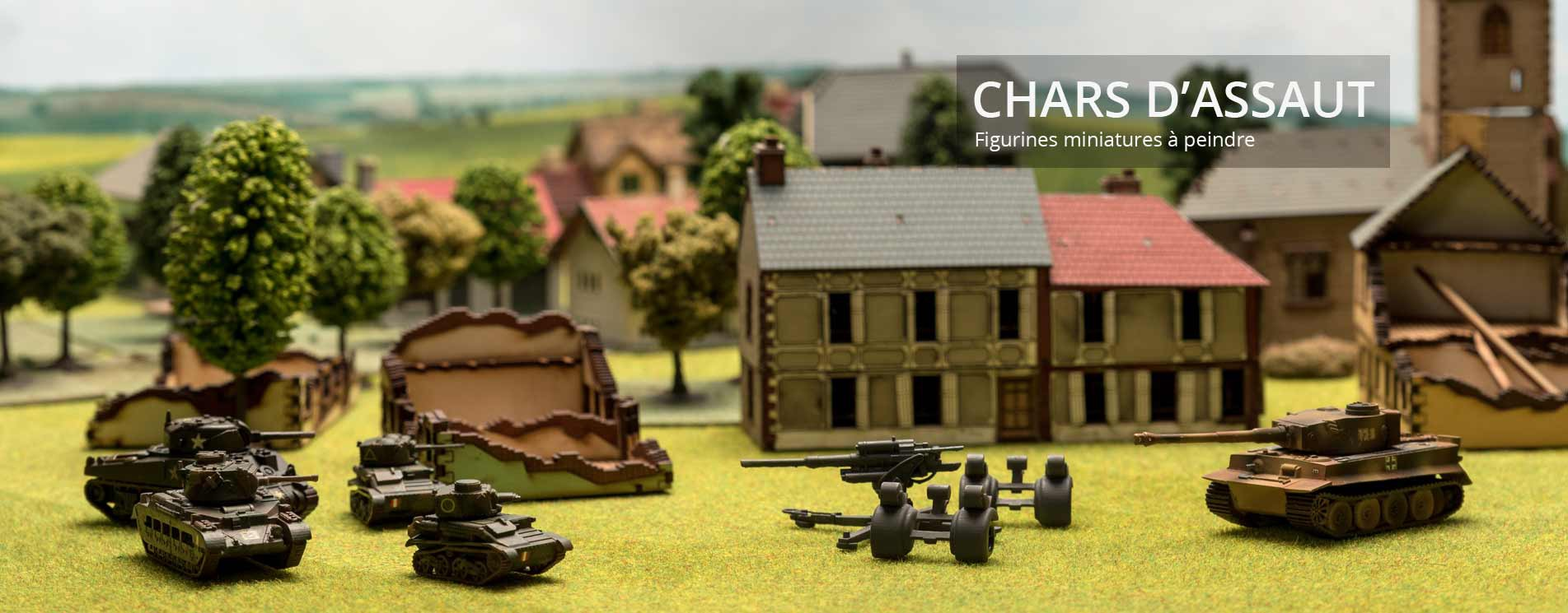 Reproduction de Chars d'assaut miniatures sur un diorama